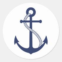 Nautical Navy Blue Anchor Classic Round Sticker