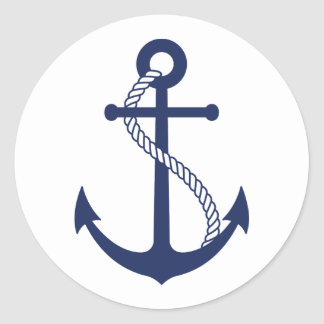 Nautical Navy Blue Anchor Classic Round Sticker