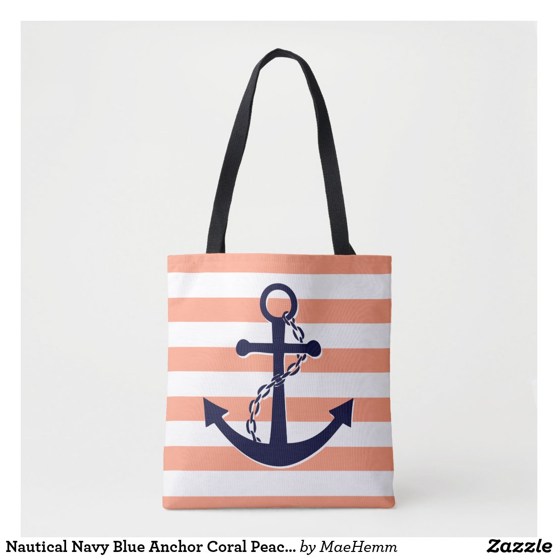 Nautical Navy Blue Anchor Coral Peach Stripe Beach