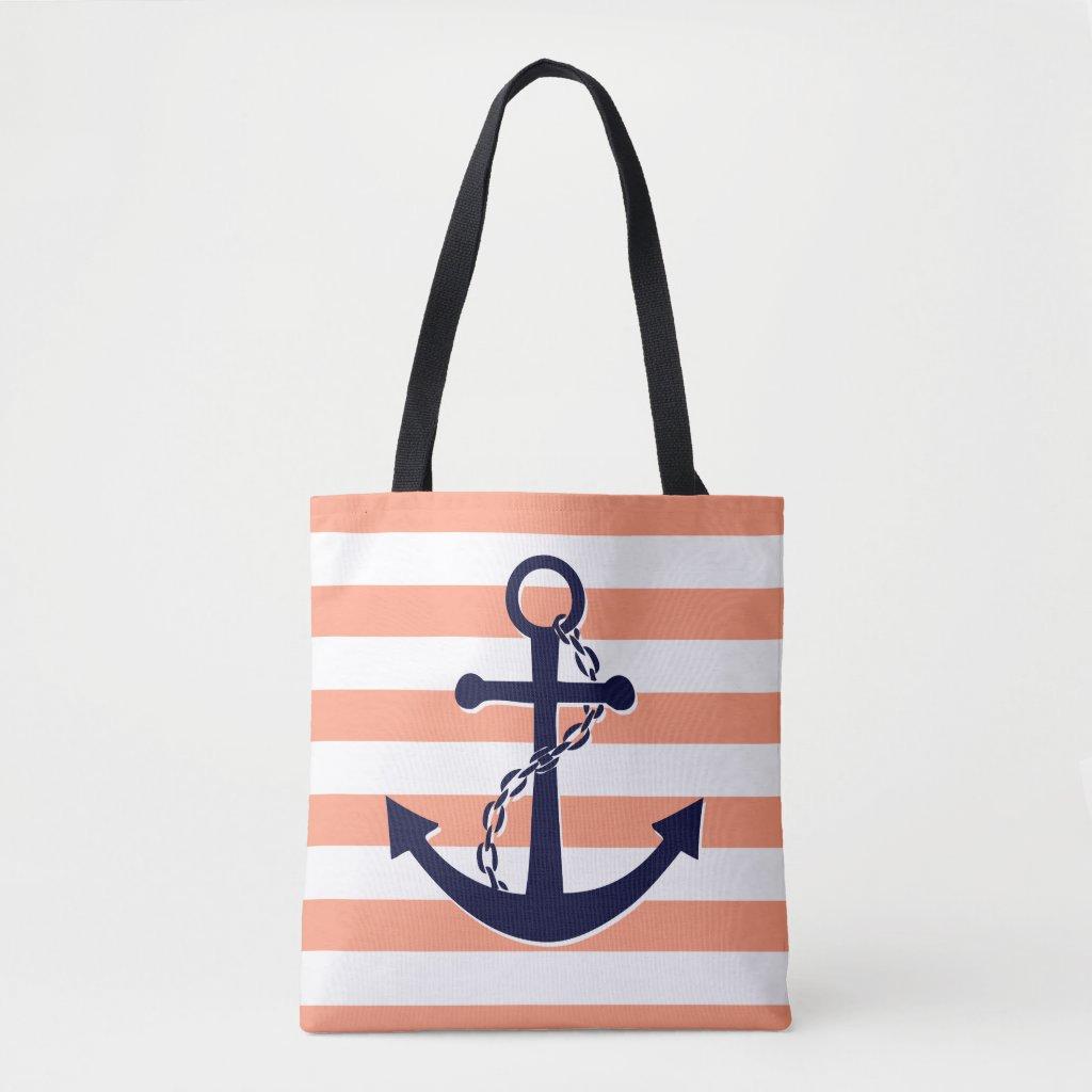 Nautical Navy Blue Anchor Coral Peach Stripe Beach