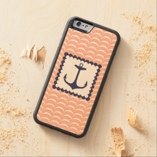 Nautical Navy Blue Anchor Coral Pink Waves Maple iPhone 6 Bumper Case