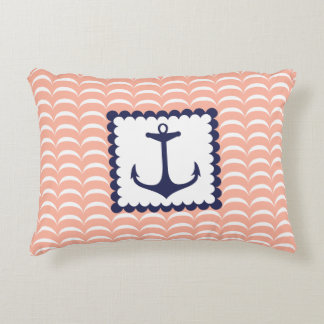 Nautical Navy Blue Anchor Coral Pink Waves Decorative Pillow