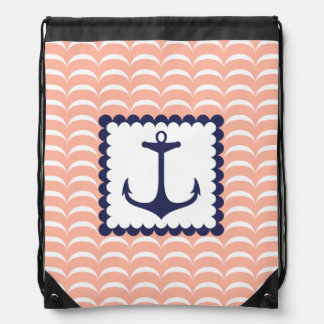 Nautical Navy Blue Anchor Coral Pink Waves Drawstring Backpack