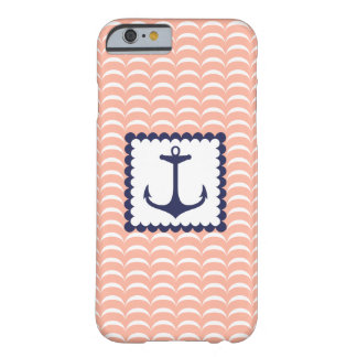Nautical Navy Blue Anchor Coral Pink Waves iPhone 6 Case