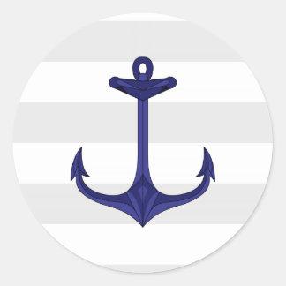 Nautical Navy Blue Anchor Gray White Stripes Classic Round Sticker
