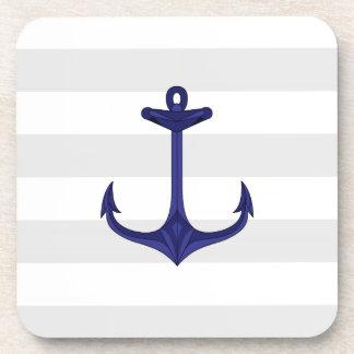 Nautical Navy Blue Anchor Gray White Stripes Coaster
