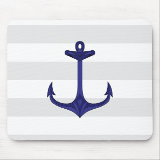 Nautical Navy Blue Anchor Gray White Stripes Mouse Pad
