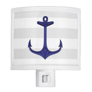 Nautical Navy Blue Anchor Gray White Stripes Night Light