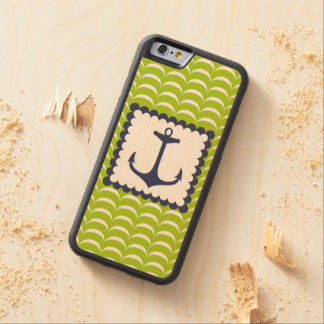 Nautical Navy Blue Anchor Green Waves Pattern Carved® Maple iPhone 6 Bumper