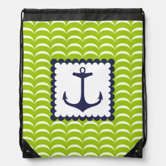 Nautical Navy Blue Anchor Green Waves Pattern Drawstring Backpack
