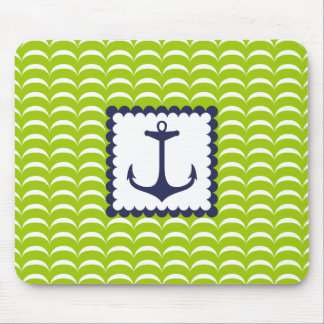 Nautical Navy Blue Anchor Green Waves Pattern Mouse Pad