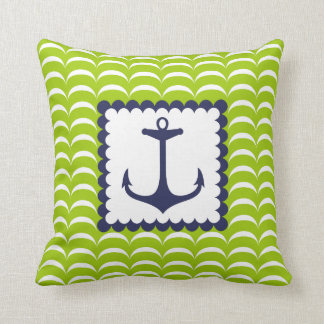 Nautical  Navy Blue Anchor Green  Waves Pattern Throw Pillow