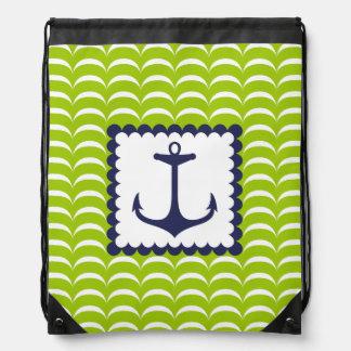 Nautical Navy Blue Anchor Green Waves Pattern Drawstring Backpacks