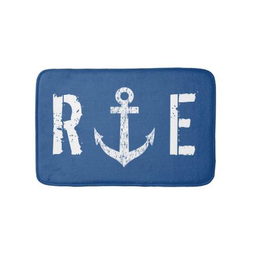 Nautical Navy Blue Anchor Monogram Bath Mat Rug Zazzle