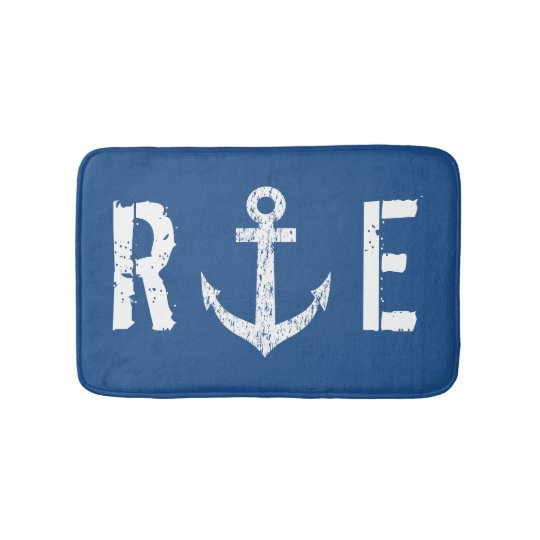 Nautical Navy Blue Anchor Monogram Bath Mat Rug Zazzle