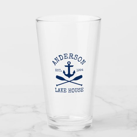 Nautical Navy Blue Anchor Oars Family Lake House Glass