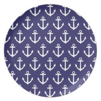 Nautical Navy Blue Anchor Pattern Dinner Plate