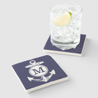 Nautical Navy Blue Anchor Pattern Stone Beverage Coaster
