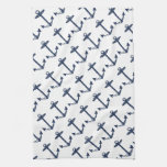 Nautical Navy Blue Anchor Pattern Kitchen Towels