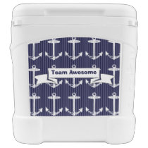 Nautical Navy Blue Anchor Pattern Rolling Cooler