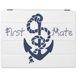 Nautical Navy Blue Anchor Rope Font iPad Smart Cover