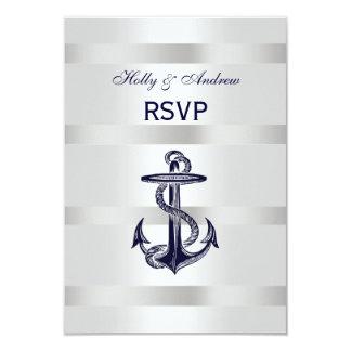 Nautical Navy Blue Anchor Silver White V RSVP 3.5x5 Paper Invitation Card