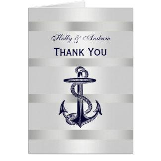 Nautical Navy Blue Anchor Silver White V Thank You Card