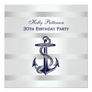 Nautical Navy Blue Anchor Silver Wt BG SQ Birthday Card