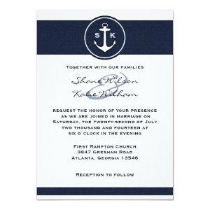Nautical Navy Blue Anchor Wedding Invitation 4.5