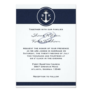 "Nautical Navy Blue Anchor Wedding Invitation 4.5"" X 6.25"" Invitation Card"