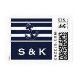 Nautical Navy Blue Anchor Wedding Stamp
