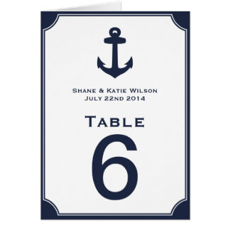 Nautical Navy Blue Anchor Wedding Table Number Stationery Note Card