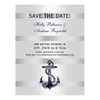 Nautical Navy Blue Anchor White BG V Save the Date Postcard
