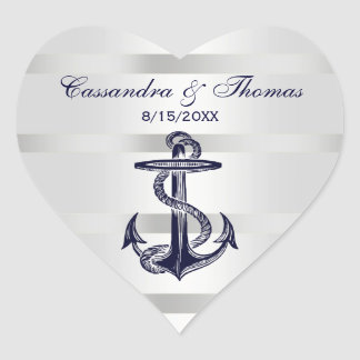 Nautical Navy Blue Anchor Wht BG H Envelope Seals Heart Sticker