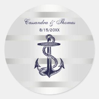 Nautical Navy Blue Anchor Wht BG R Envelope Seals