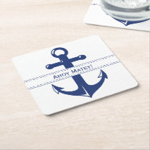 Nautical Navy Blue Anchor with Customizable Text Square Paper Coaster