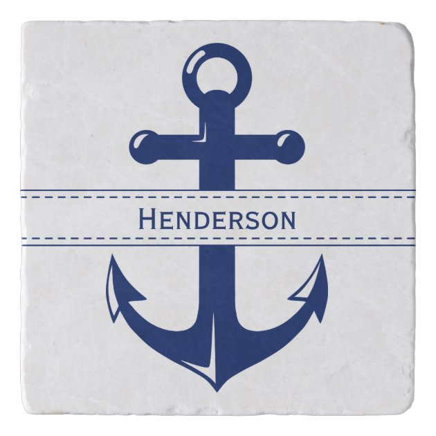 Studio Dalio - Nautical Navy Blue Anchor with Text Band Marble Trivet