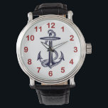 """Nautical Navy Blue Anchor Wristwatch<br><div class=""""desc"""">Romantic Vintage Look Nautical Navy Blue Anchor on White Background - Wrist Watch Elegant, chic and stylish customizable accessories with a navy blue anchor on a white background. You have a choice of 2 numeral colors, red or black. Remove the color you DON&#39;T want. This product is part of a...</div>"""