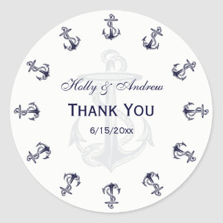 Nautical Navy Blue Anchors R TY Envelope Seal Classic Round Sticker