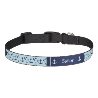 Nautical Navy Blue Anchors With Pet's Name Pet Collar