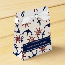 Nautical Navy Blue and red Anchor rudder pattern Favor Box