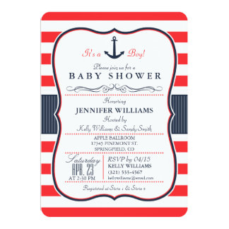 Nautical Navy Blue and Red Baby Shower Invitation
