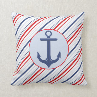 Nautical Navy Blue and Red Stripes Anchor Pillow