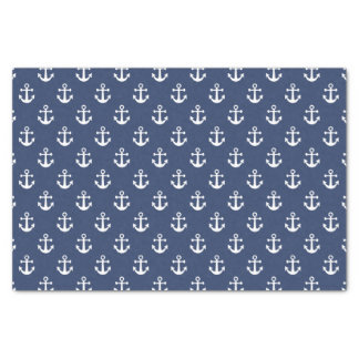 "Nautical Navy Blue and White Anchor Pattern 10"" X 15"" Tissue Paper"