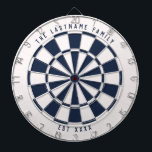 """Nautical Navy Blue and White Custom Text Dart Board<br><div class=""""desc"""">Nautical navy blue and white dartboard with your own custom text on the top and bottom.  With a twist on the classic style dartboard,  this fun game board features an off-white and navy blue color scheme to work well with many home decor styles for a modern twist.</div>"""