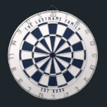"Nautical Navy Blue and White Custom Text Dart Board<br><div class=""desc"">Nautical navy blue and white dartboard with your own custom text on the top and bottom.  With a twist on the classic style dartboard,  this fun game board features an off-white and navy blue color scheme to work well with many home decor styles for a modern twist.</div>"