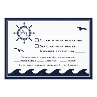 Nautical navy blue and white RSVP 3 Dinner Choice Custom Invitation