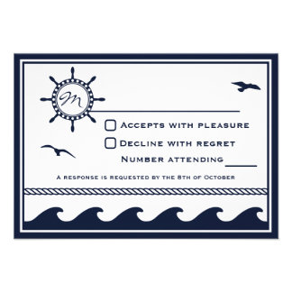 Nautical navy blue and white RSVP Invitations