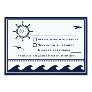 Nautical navy blue and white RSVP 3.5x5 Paper Invitation Card