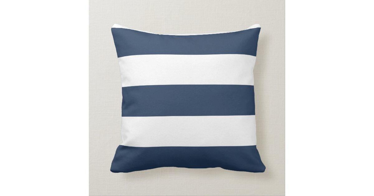 Nautical Navy Blue And White Striped Pillow Zazzle